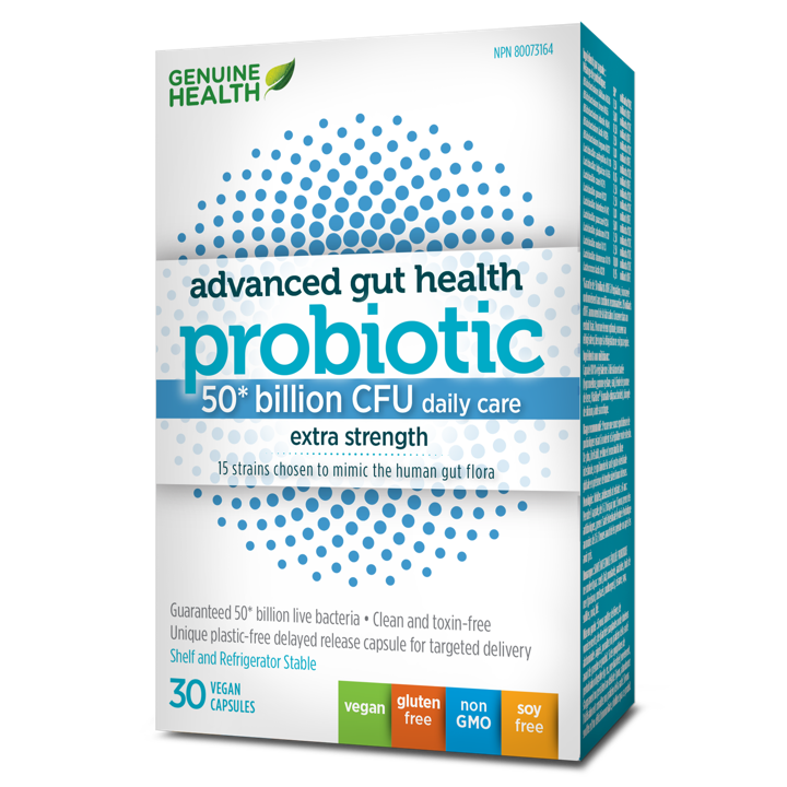 Advanced Gut Health Probiotic Extra Strength - 50 Billion CFU - 30 veggie capsules